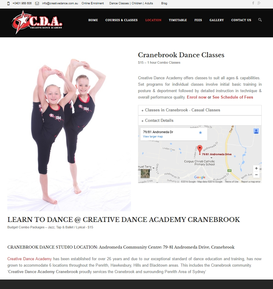 Creative Dance Wordpress website