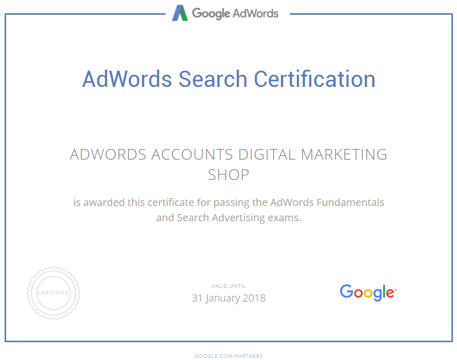 Adwords Google Certified